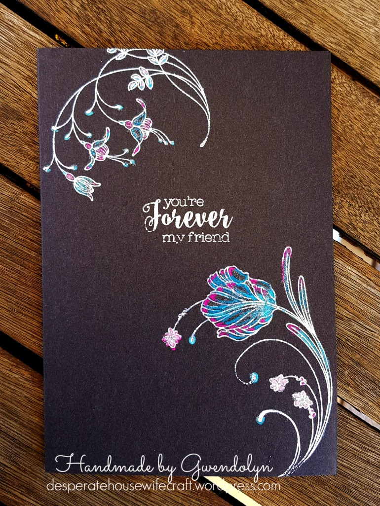 silver embossed flowers day