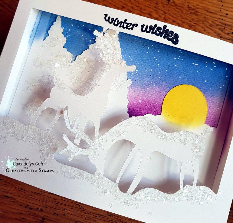 Reindeer 3D card cu
