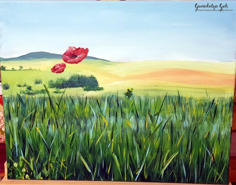 acrylic poppies scenery