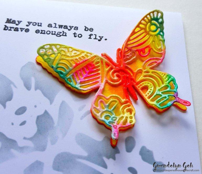 multicolor butterfly card cu