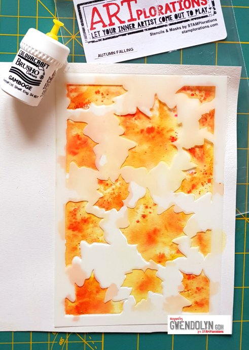 Autumn falling stencil