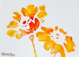 Happy Flowers stencil shine