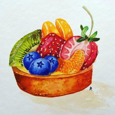 Watercolour on Guardi Artistico 30x30. Daniel Smith watercolours. Realistic fruit tart from Eugenia Sugardo's class on Skillshare